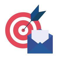 alvo isolado e design de vetor de envelope