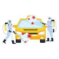 homens com roupa de proteção pulverizando carro táxi com design de vetor de vírus covid 19