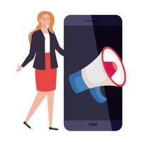 avatar de mulher com design de vetor de megafone e smartphone