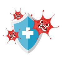desenho de vírus no escudo com desenho vetorial cruzado vetor