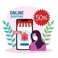 avatar de mulher com máscara e desenho vetorial de smartphone vetor
