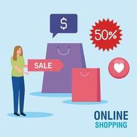 avatar de mulher e bolsas de design de vetor de compras online