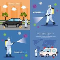 serviço de desinfecção de carros, prevenção de coronavírus covid 19, limpar superfícies em carros com spray desinfetante, pessoas com roupa de risco biológico vetor