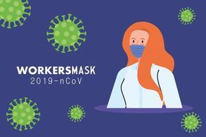 secretária trabalhadora usando máscara facial durante o dia 19 vetor