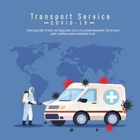 ambulância, serviço de desinfecção de carros, prevenção contra coronavírus covid 19, limpar superfícies no carro com spray desinfetante, pessoa com roupa de risco biológico vetor
