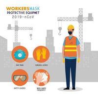 trabalhador da construção civil usando máscara médica contra covid 19 com equipamento de proteção 291 ncov vetor