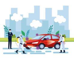 serviço de desinfecção de carros, prevenção contra coronavírus covid 19, limpar superfícies em carros com spray desinfetante, pessoas com roupa de risco biológico vetor