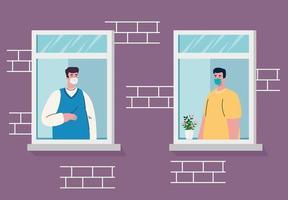 ficar em casa, fachada da casa com janela, homens olhando para fora de casa, auto-isolamento, quarentena devido ao coronavírus, cobiçado 19