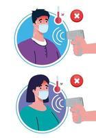 covid 19 coronavirus, mãos segurando um termômetro infravermelho para medir a temperatura corporal, casal verifica a temperatura vetor