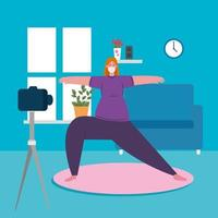 mulher se exercitando em casa, ficar em casa, estilo de vida saudável dentro de casa, prevenção covid 19 vetor