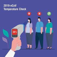 covid 19 coronavirus, pessoas em teste com termômetro infravermelho para medir a temperatura corporal vetor