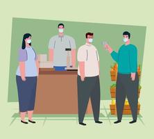 covid 19 coronavirus, pessoas em teste com termômetro infravermelho para medir a temperatura corporal no supermercado vetor