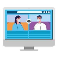 casal fala um com o outro na tela do computador, videoconferência, prevenção contra coronavírus covid 19 vetor