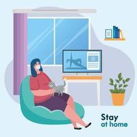 ficar em casa, mulher usando máscara médica na sala de estar, quarentena ou auto-isolamento vetor