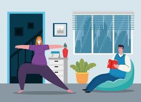 ficar em casa, casal fazendo atividades, quarentena ou auto-isolamento vetor