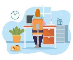 ficar em casa, trabalhar em casa, mulher se proteger trabalhando em casa, ficar em casa em quarentena durante o coronavírus vetor