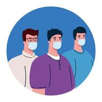 homens usando máscara médica protetora contra cobiçado 19 vetor