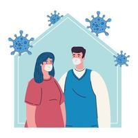 ficar em casa, casal usando máscara médica, quarentena ou auto-isolamento, conceito de saúde