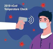 covid 19 coronavirus, mão segurando um termômetro infravermelho para medir a temperatura corporal, homem verificar a temperatura vetor