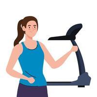 esporte, mulher com esteira, esportista com máquina de treinamento elétrica