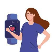 bela jovem e smartwatch com app de cardio em fundo branco vetor