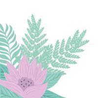flores lilás pastel com ramos e folhas, conceito da natureza