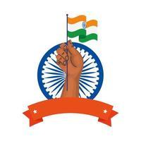 mão com a bandeira da Índia e o símbolo indiano da roda azul Ashoka em fundo branco vetor