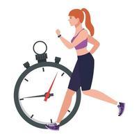 mulher correndo com cronômetro, atleta feminina com cronômetro no fundo branco vetor