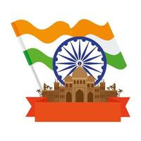 taj mahal, famoso monumento com roda de ashoka azul e bandeira da Índia vetor