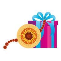 raksha bandhan, pulseira rakhi com caixa de presente em fundo branco vetor