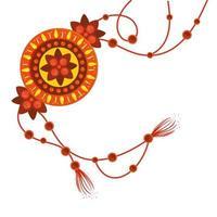 raksha bandhan, pulseira rakhi em fundo branco vetor
