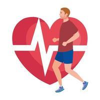 homem correndo com o pulso do coração no fundo, atleta do sexo masculino com coração de cardiologia vetor