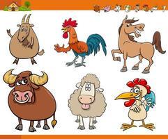 desenhos animados engraçados conjunto de personagens de animais de fazenda vetor