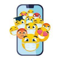smartphone com emojis usando máscara médica em fundo branco vetor