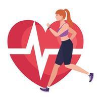 mulher correndo com o pulso do coração no fundo, atleta feminina com coração de cardiologia vetor