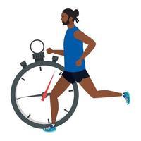homem afro correndo com cronômetro, homem afro em sportswear, atleta afro, com cronômetro em fundo branco vetor