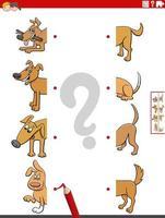 combinar metades de imagens de desenhos animados com cães, jogo educativo vetor