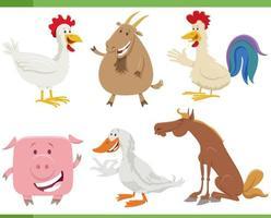 Conjunto de personagens de animais de fazenda feliz