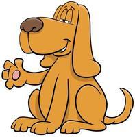 desenho animado cão personagem animal acenando com a pata vetor