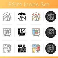 conjunto de ícones de decoração de interiores vetor