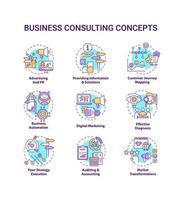 Conjunto de ícones de conceito de consultoria de negócios