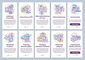 tela de página de aplicativo móvel principal serviço de consultoria de negócios com conjunto de conceitos vetor