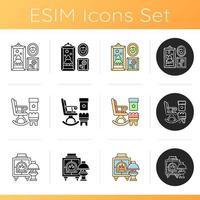 conjunto de ideias de estilo para ícones domésticos vetor