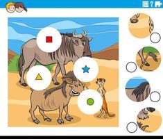 tarefa de combinar peças com personagens de animais selvagens vetor