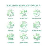 conjunto de ícones de conceito de tecnologia agrícola vetor