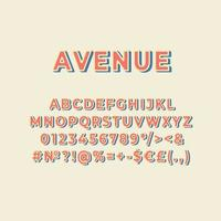 conjunto de alfabeto de vetor 3d vintage da avenida