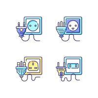 conjunto de ícones de cores rgb de tipos de tomadas vetor