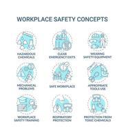 Conjunto de ícones de conceito de segurança no local de trabalho
