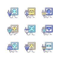 conjunto de ícones de cores rgb de diferentes tomadas elétricas vetor