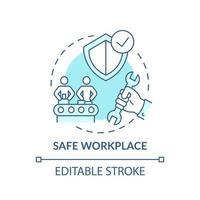 ícone do conceito de local de trabalho seguro vetor